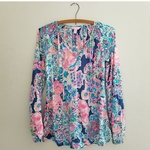 Lilly Pullitzer floral Willa blouse size XXS